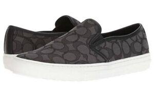Coach Women's Black Slip-On Signature Canvas Sneakers Size 9.5M
