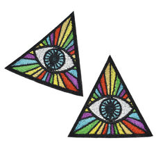 2Pc Triangle Patch Rainbow Evil Eye Illuminati Monster Iron On Badge Embroidered