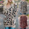 Women Leopard Print Baggy Knitted Sweater Ladies Oversized Long Sleeve Jumper US