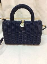 "Vintage Navy Blue BASKET WEAVE BOX PURSE Woven Plastic 6x9"" HARD FRAME !"