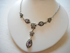 Sterling Silver 925 Marcasite Amethyst Lavalier Necklace   RE3256