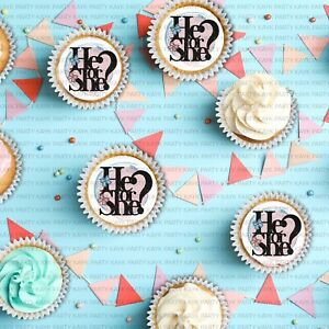 He Or She Cupcake Toppers 24 Edible Cupcake Toppers Gender Reveal Toppers