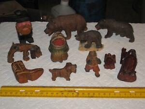 vintage junk drawer lot,folk art wood carvings,troll toothpick holder,boxer dog
