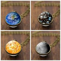 Chain Glass Dome Galaxy Ball Solar System Necklace Planet Pendant Double Sided