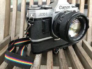 Canon AE-1 Programm 35mm SLR-Kamera mit Canon FD 50mm f/1.8 Objektiv...
