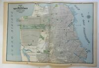 San Francsico California fine large detailed city plan 1903 double page map