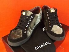 NIB CHANEL GRAY VELOUR BLACK SUEDE LACE UP PEARL CC LOGO SNEAKERS 36.5 $775