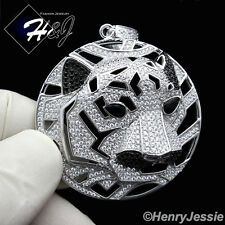 MEN 925 STERLING SILVER LAB DIAMOND ICED OUT BLING TIGER HEAD CHARM PENDANT*SP46