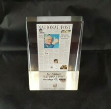 Vtg 1st Edition National Post Front Page 1998 Lucite Paperweight Newspaper