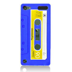 iPod Touch 5th 6th 7th Gen - SOFT SILICONE RUBBER CASE COVER BLUE CASSETTE TAPE