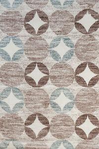 Modern Cream Blue Brown Star Design Living Room Rug Extra Soft