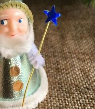 """Replacement Blue Foil Star on Wand,Fits 3"""" Tall Vintage Angel or Elf Putz Figure"""