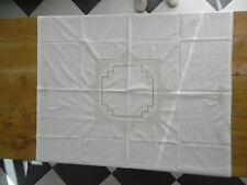 Nappe à thé en coton et 8 serviettes avec jours et broderies 118x114cms