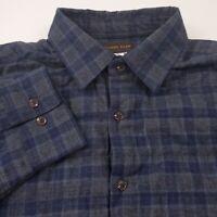 Thomas Dean Mens Lined Flannel Shirt Jacket Size Medium Plaid Gray & Blue NEW