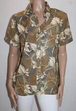 Elegant Brand Brown Leaf Print Short Sleeve Shirt Top Size L BNWT #SS68