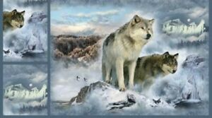 """Hoffman Call Of The Wild Glacier Wolf Minky Cuddle Fabric Quilt Panel 32"""" x 45"""""""
