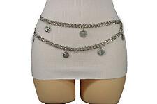 Women Silver Fashion Belt Metal Chains Hip High Waist Grece Coins Regular S / M