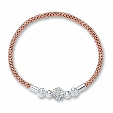 Rose Gold 925 Sterling Silver stretch beaded stacking bracelet & shamballa charm