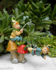 Miniature Dollhouse FAIRY GARDEN ~ Pixie ENCHANTED FOREST Fishing Pixies ~ NEW