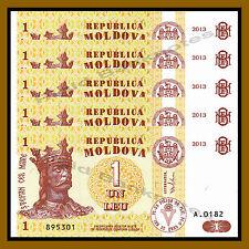 Moldova 1 Leu x 5 Pcs, 2013 P-8i Unc