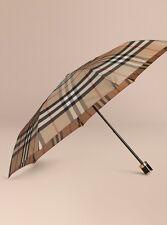 Burberry Check Folding Umbrella Camel