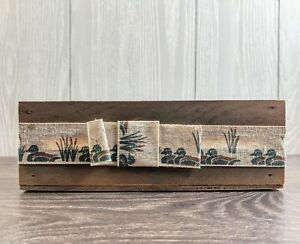 """Shabby Chic Country Wood Basket Box Finished With Duck Mallard 9.25"""" 7.75"""""""