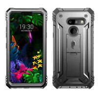 For LG G8 ThinQ Case ,Rugged Shockproof CoverBlack w/Built-In Kick-stand Black