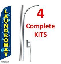 4 (four) LAUNDROMAT 15' SWOOPER #3 FEATHER FLAGS KIT