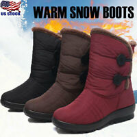 US Womens Winter Snow Ankle Boots Fur-lined Slip On Warm Casual Shoes Waterproof