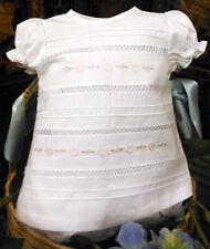 NWT Will'beth White Pink Heart Batiste Pintucks 2p Diaper Set Baby Girls Newborn