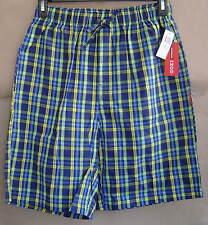 NWT IZOD Mens M 32 34 KIWI PLAID Woven Sleep Shorts Cotton Pajamas