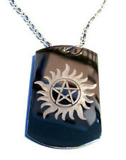 Flaming Sun Pentagram Star Symbol Logo Dog Tag Metal Chain Necklace Jewelry New