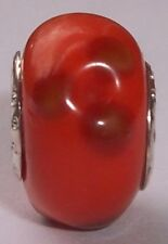 Coral Brown Orange Red Clovers Glass Bead for Silver European Charm Bracelets