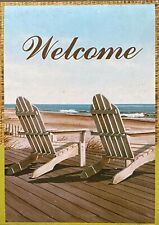 "Beach ""Welcome� Adirondack Chairs on Shore Garden Mini Small Flag Banner 12�x18�"