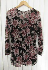 Womens FREE PEOPLE Pink & Black Floral Print Shorts Romper ~ Small (K11)