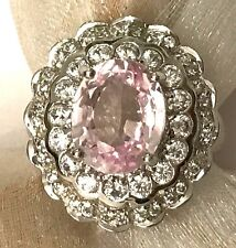 8 CT OVAL CUT PINK SAPPHIRE & WHITE TOPAZ VS CLARITY 925 S SILVER COCTAILl RING