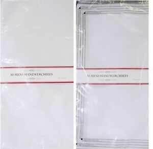 "5 or 10 Pack Mens Large White Handkerchiefs Hankies Polycotton 14"" x 14"" Packs"