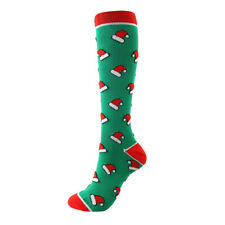 LE Fancy Christmas Stockings Knee High Fuzzy Socks Holiday Fun Colorful Green