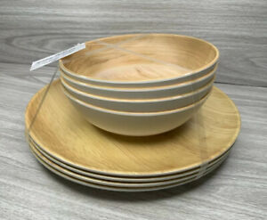 Tommy Bahama Melamine Plate and Bowl Set Light Wood Grain Pattern 4 each