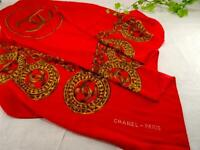 Authentic Chanel Silk Scarf Red Coco Mark Free Shipping No.8533