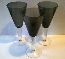 3 VINTAGE OVER SIZE FRENCH LUMINARC DARK GREEN SHERRY / PORT GLASSES.EXCELLENT
