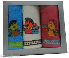 Estuche de 3 paños de cocina tejido rizo algodón con motivos de cocinero bordado