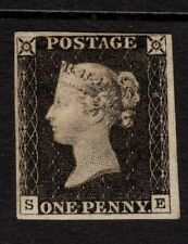 "1840-Penny Black- ""SE""-4 close to large margins- SgAS20-Original gum-Cat £20,000"