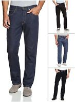 New Men's Lee Brooklyn Straight Leg Stretch Jeans Regular Black Blue Dark Denim