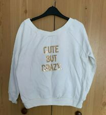 In The Style Size 12 Cream Off The Shoulder Cute But Crazy Slogan Jumper