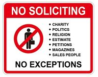 NO SOLICITING, No SALESMAN, No Exceptions, Home Security Sign sticker 20PCS New