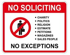 NO SOLICITING, No SALESMAN, No Exceptions, Home Security Sign sticker 4PCS New