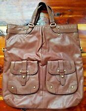 Ugg Australia Large Brown Leather Deep Tote Handbag Hand Bag Purse Front Pockets