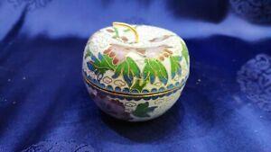Deckeldose Apfelform mit Sockel Messing emailliert Cloisonne China D6,5cm H6cm