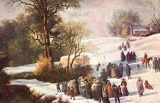 Winter, Heimgang aus der Kirche, Schweizer Pro Juventute Karte, ca. 20er/30er J.